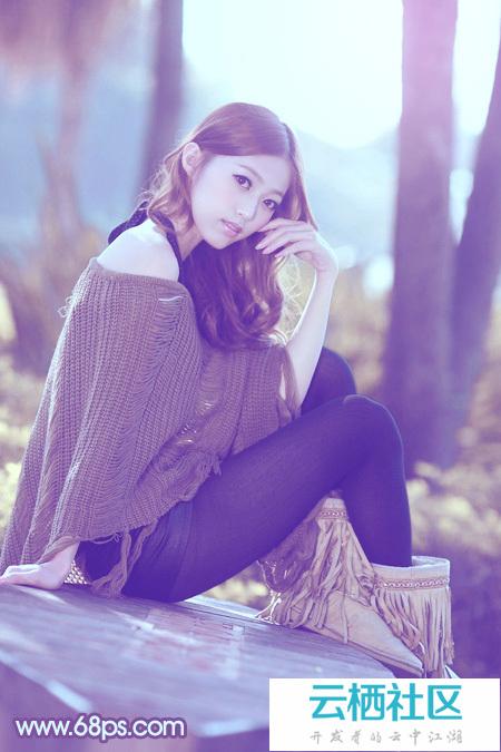 利用Photoshop给树林中的美女加上柔和的冷色教程-photoshop冷色调