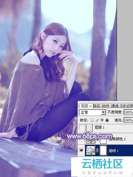 利用Photoshop给树林中的美女加上柔和的冷色教程-冷色调有哪些颜色