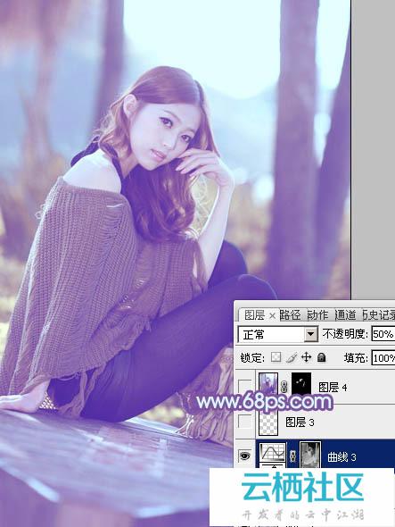 利用Photoshop给树林中的美女加上柔和的冷色教程-冷暖色