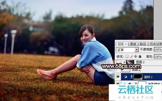 Photoshop给草坪上人物加暗红霞光色效果教程-大便出血暗红色