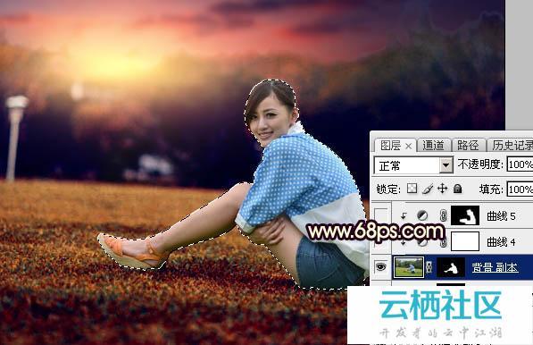 Photoshop给草坪上人物加暗红霞光色效果教程-暗红色