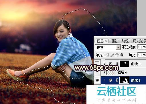 Photoshop给草坪上人物加暗红霞光色效果教程-大便带暗红色的血